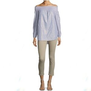Michael Kors Izzy Cropped Taupe/Beige Skinny Jean